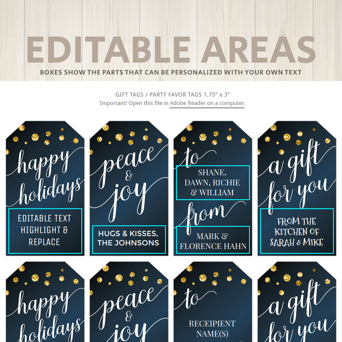 Printable Christmas Gift Tags | Navy Blue & Gold | Hands ...