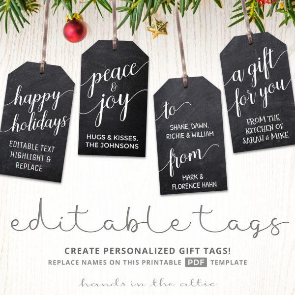 Printable Christmas gift tags | Chalkboard