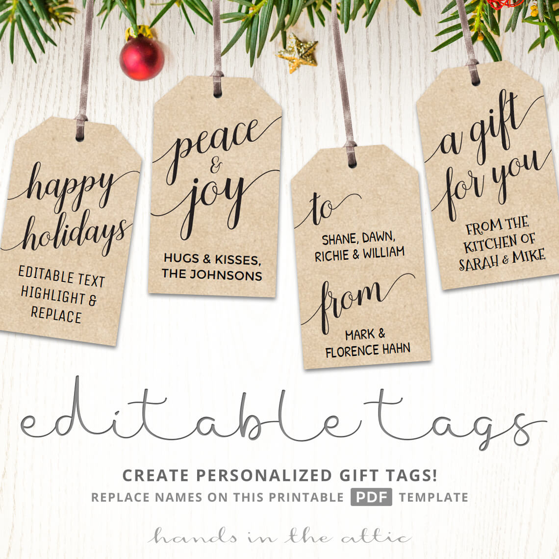 graphic regarding Personalized Gift Tags Printable known as Printable Xmas Present Tags Kraft White