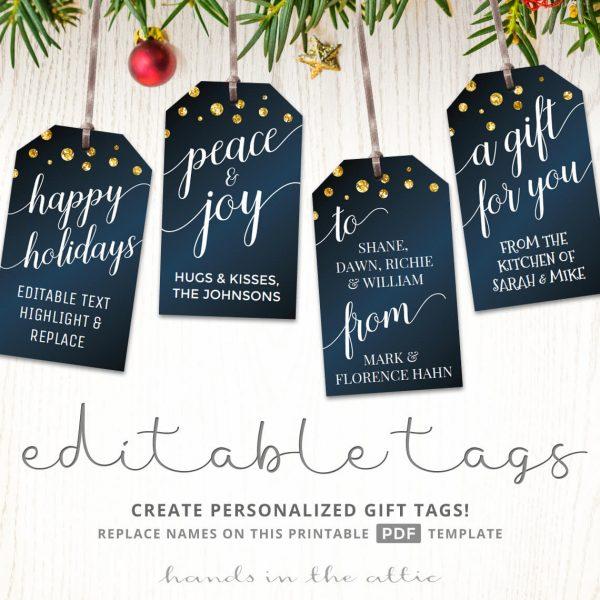 Printable Christmas Gift Tags   Navy Blue & Gold