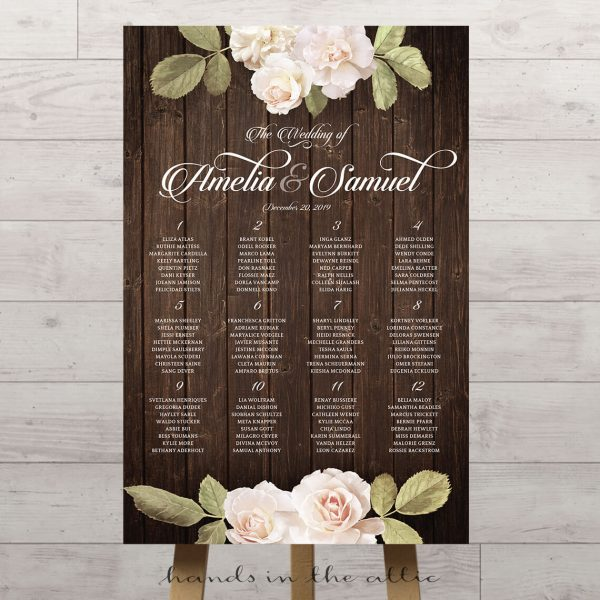 Vintage Floral Wedding Seating Chart