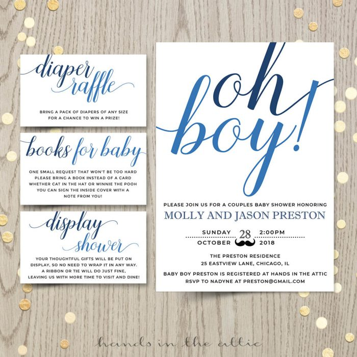 Oh Boy Baby Shower Invitation