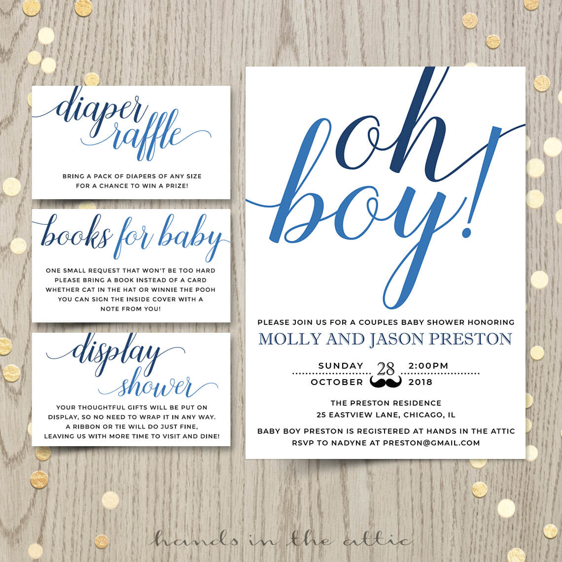 Oh Boy Baby Shower Invitation Hands