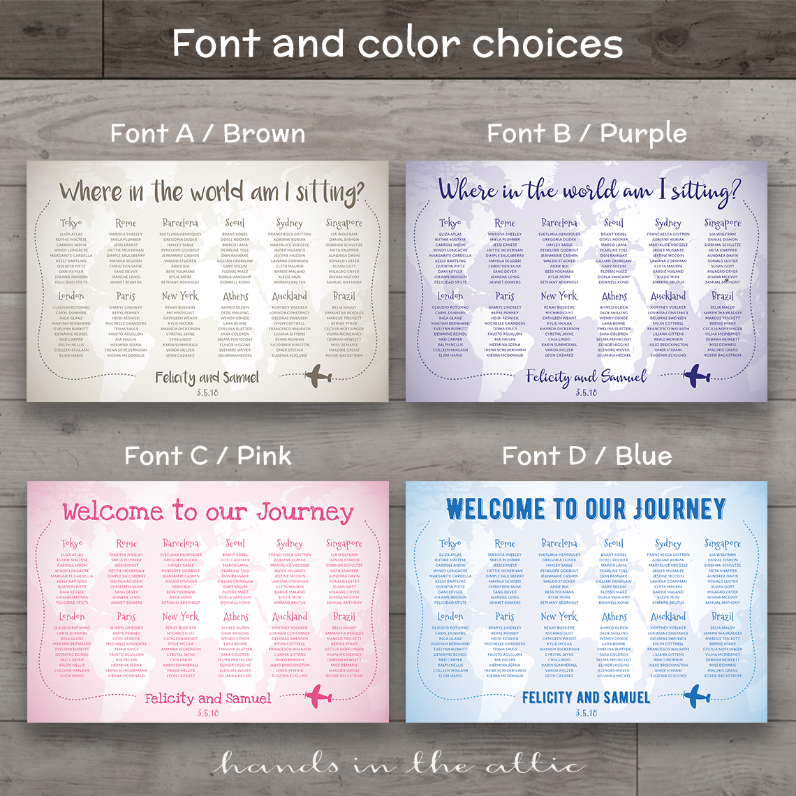 World Travel Wedding Seating Chart | Hands in the Attic