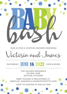 10 Blues And Greens Baby Bash Invitation