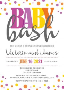 11 Royal Purple Yellow Baby Shower Invitation