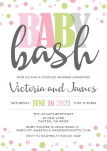 13 Pink Green Grey Baby Bash Invitation