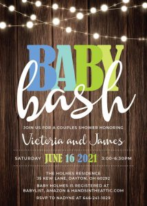 15 Blue Green Baby Shower Invitation With String Lights