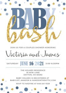 16 Dusty Blue And Gold Baby Bash Invitation