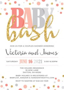 17 Coral Peach And Grey Baby Shower Invitation