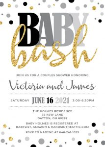 19 Grays And Gold Baby Bash Invitation