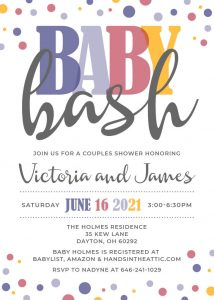 2 Purple Baby Bash Invite