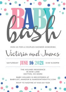 3 Pink And Turquoise Baby Bash Invitation
