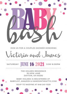 4 Hot Pink Lilac Purple Baby Bash Invite