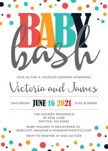 5 Mexican Colors Baby Shower Invitation