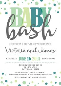 6 Mint Green Baby Bash Invitation