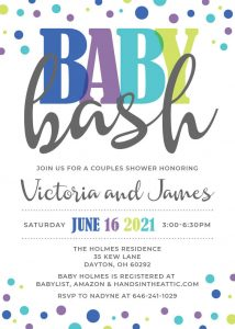 7 Sea Green And Blue Baby Bash Invitation
