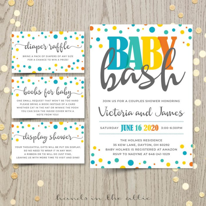 Baby Bash Invitation With Extra Cards