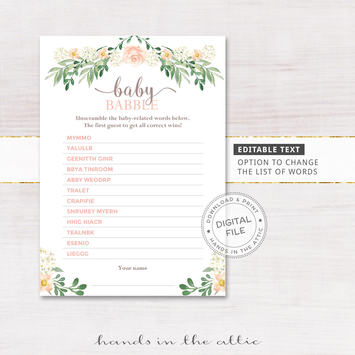 Baby Babble Word Scramble Game Printable Stationery Weddings