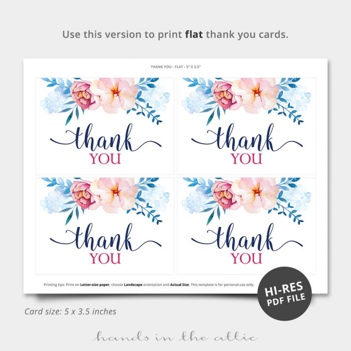 Blue Florals Printable Thank You Card