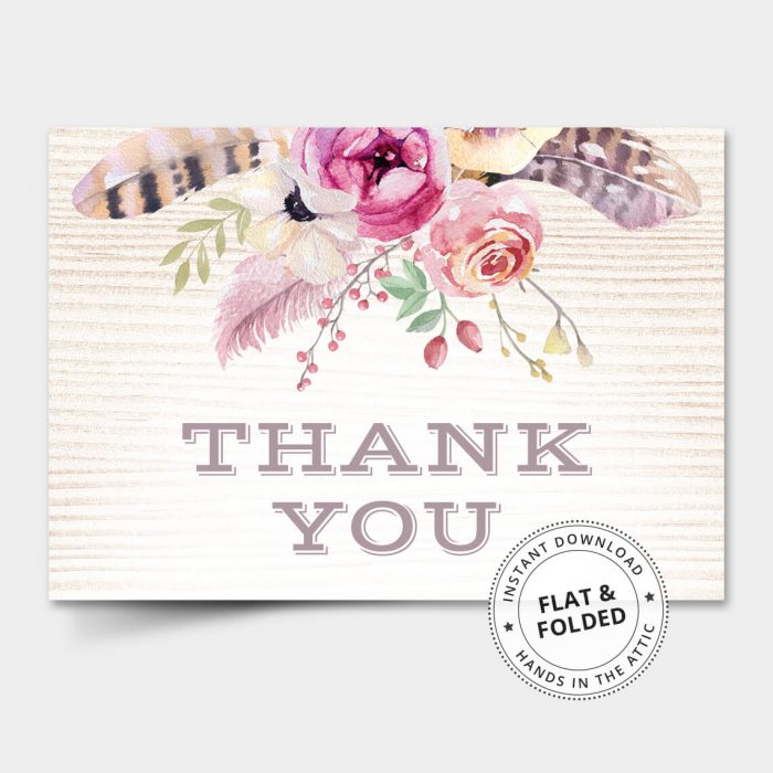 Boho Thank You Card