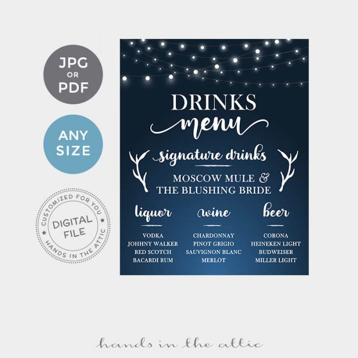 Drinks Menu Printable Sign