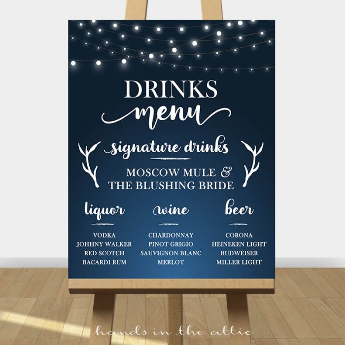 Drinks Menu Sign