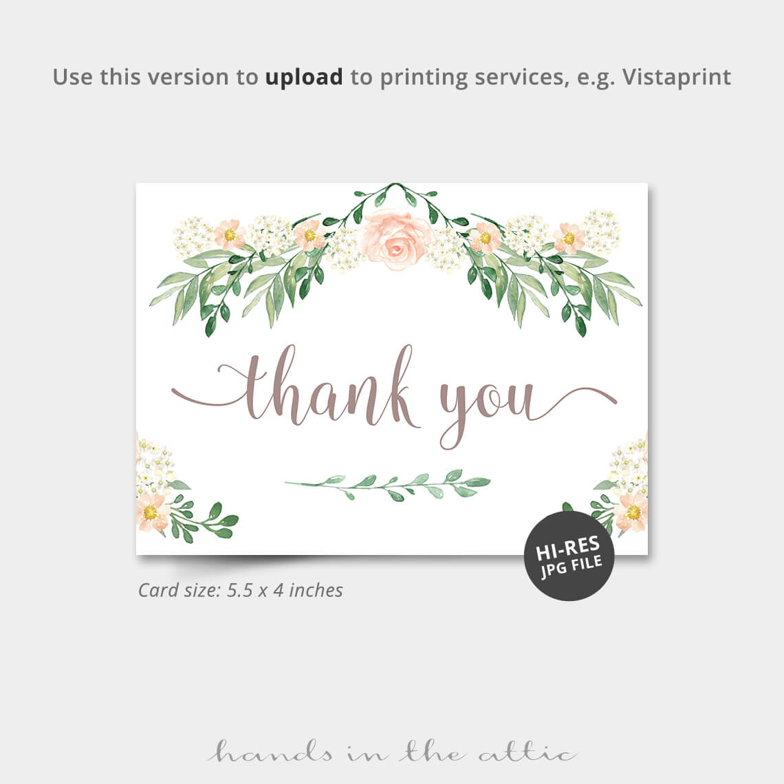 floral thank you card  printable stationery  hands in