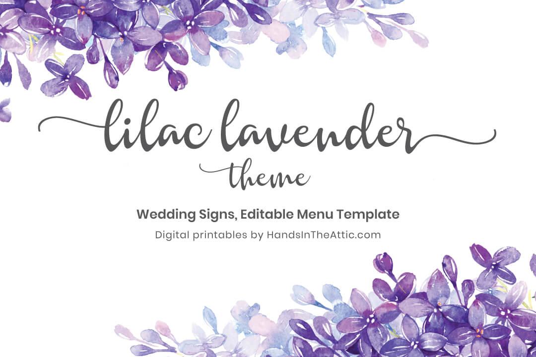 Lilac Lavender Theme Wedding Signs Menu Printable