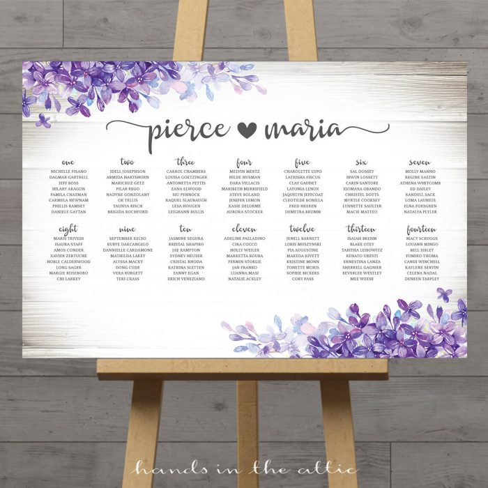 Lilac Lavender Wedding Seating Chart