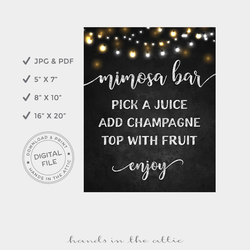 picture about Mimosa Bar Sign Printable known as Mimosa Bar Indication Fairy Lighting Chalkboard