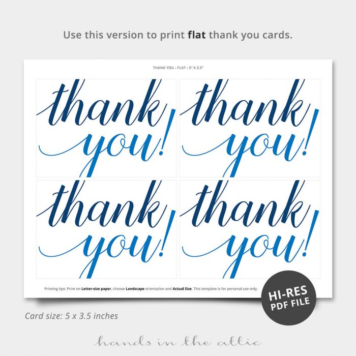 Oh Boy Blue Printable Thank You Card