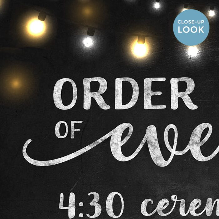 Order Of Events Chalkboard Printable Sign
