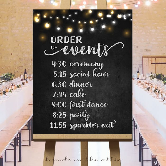 Order Of Events Wedding Sign