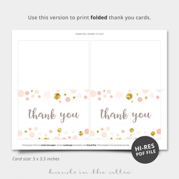 Pink And Gold Pdf Thank You Card
