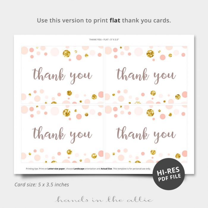 Pink And Gold Printable Thank You Card