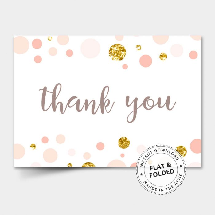 Pink And Gold Thank You Card