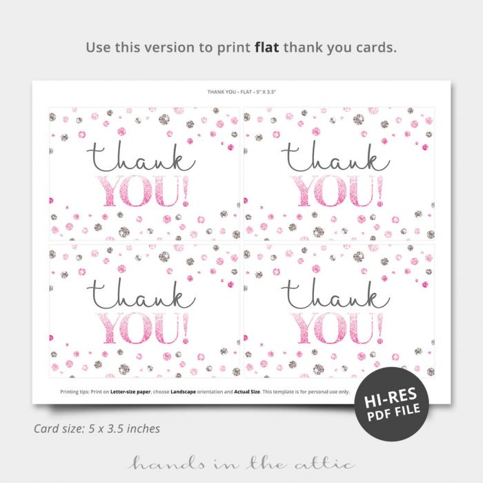 Pink Silver Dots Printable Thank You Card