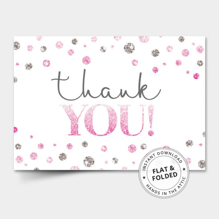 Pink Silver Dots Thank You Card