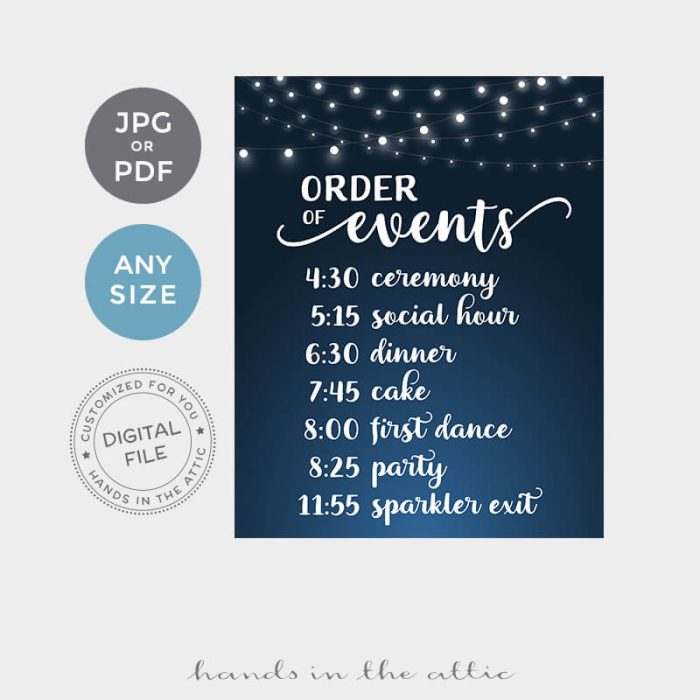 Printable Order Of Events Wedding Day