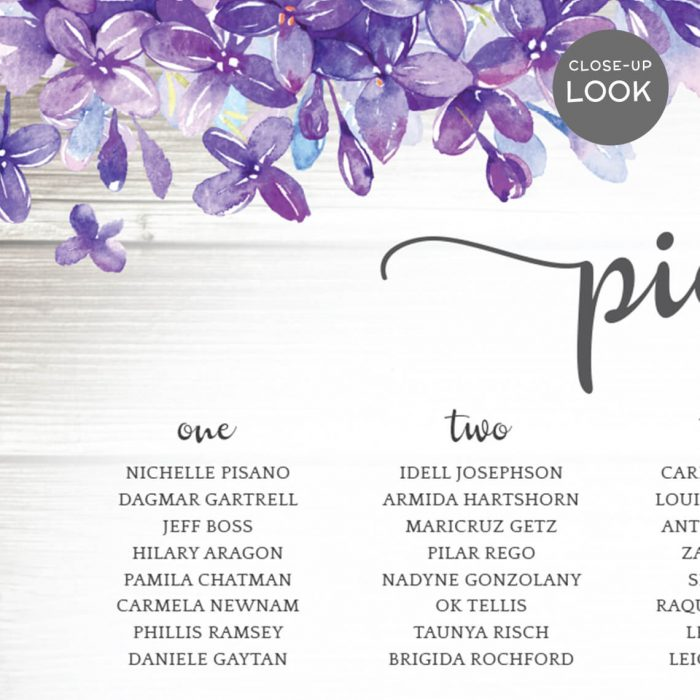 Purple Wedding Seating Chart Board