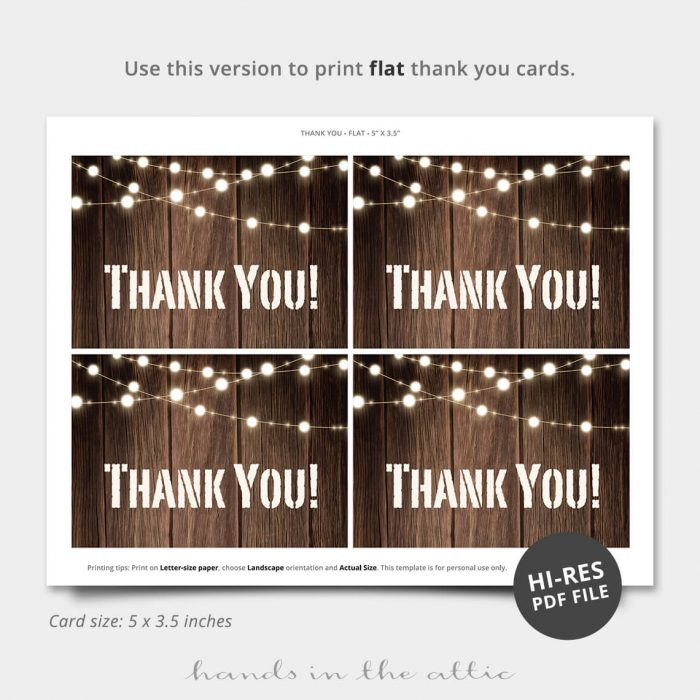 String Lights Printable Thank You Card
