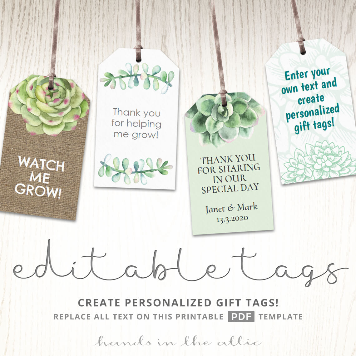 succulent gift tags plants and cactus labels watch me grow