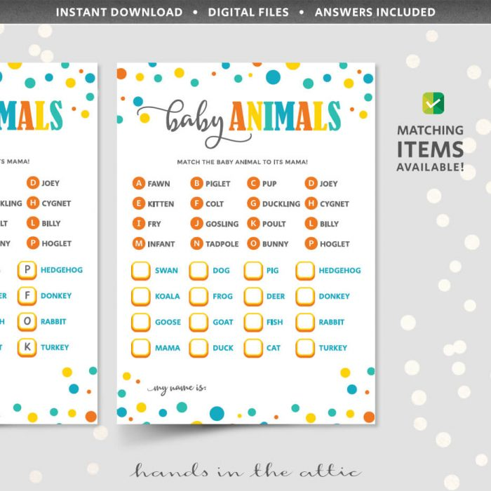 Baby Animals Matching Game Printable