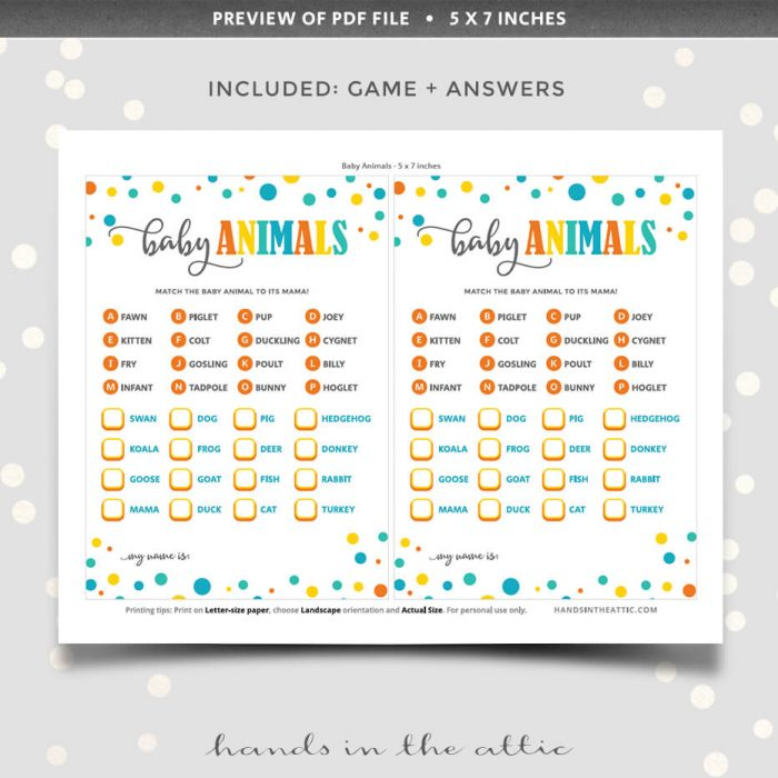 Baby Animals Matching Game With Answers