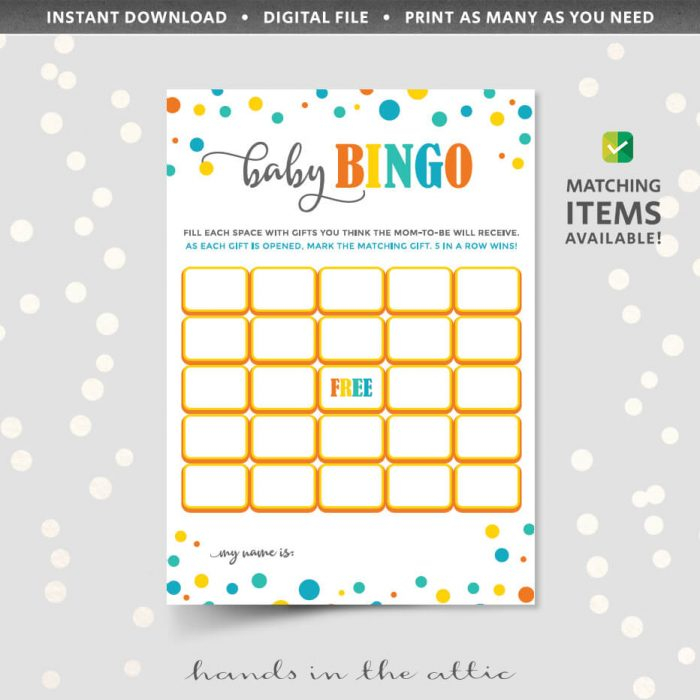 Baby Bingo Shower Game Printable