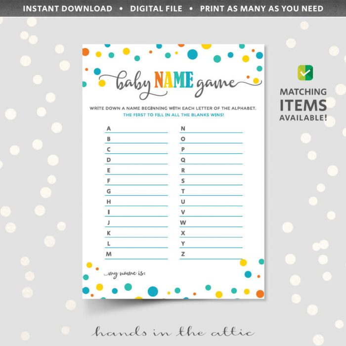 Baby Name Game Printable