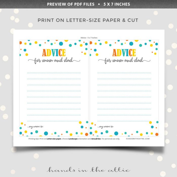 Baby Shower Advice Cards For Both Parents