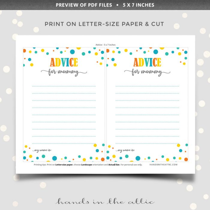 Baby Shower Advice Cards For Mommy