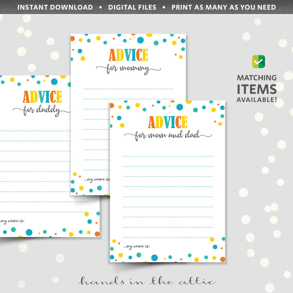 baby shower advice cards printable
